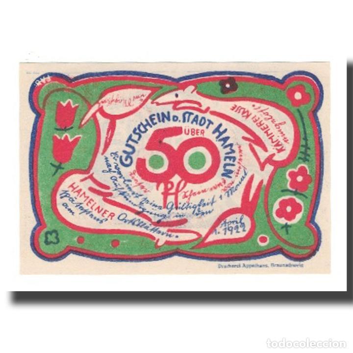 BILLETE, ALEMANIA, HAMELN STADT, 50 PFENNIG, RATS, 1922, 1922-04-01, EBC (Numismática - Notafilia - Billetes Extranjeros)
