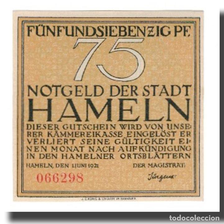 BILLETE, ALEMANIA, HAMELN STADT, 75 PFENNIG, PERSONNAGE 1, 1921, 1921-06-01 (Numismática - Notafilia - Billetes Extranjeros)