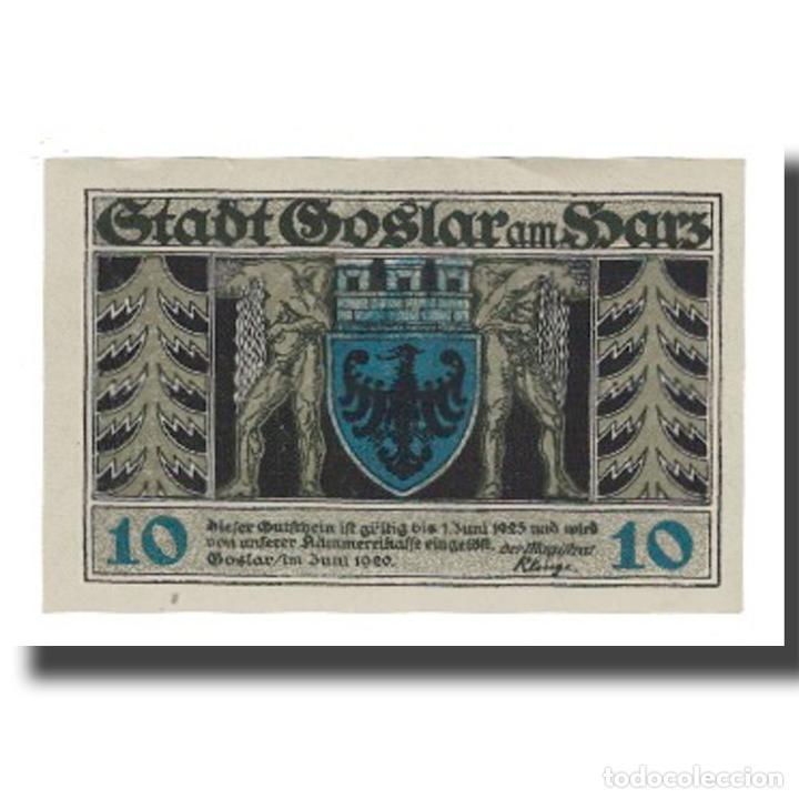 BILLETE, ALEMANIA, GOSLAR STADT, 10 PFENNIG, PERSONNAGE, 1920, 1920-06-01, EBC (Numismática - Notafilia - Billetes Extranjeros)