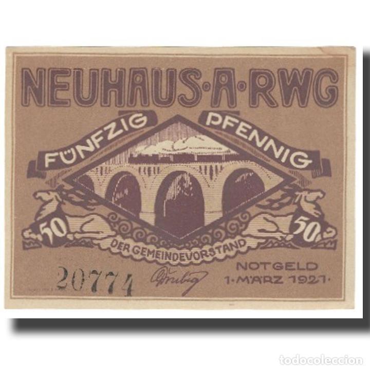 BILLETE, ALEMANIA, NEUHAUS AM RENNWEG GEMEINDE, 50 PFENNIG, PONT, 1921 (Numismática - Notafilia - Billetes Extranjeros)