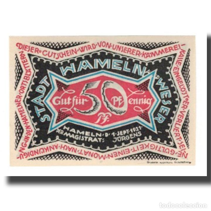 BILLETE, ALEMANIA, HAMELN STADT, 50 PFENNIG, PERSONNAGE 2, 1921, 1921-09-01 (Numismática - Notafilia - Billetes Extranjeros)