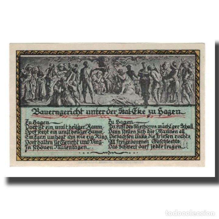 Billetes extranjeros: Billete, Alemania, Hagen Gemeinde, 50 Pfennig, personnage 2, 1921, 1921-08-01 - Foto 2 - 234896865