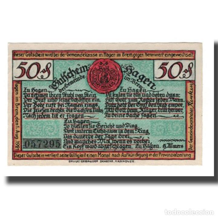 BILLETE, ALEMANIA, HAGEN GEMEINDE, 50 PFENNIG, PERSONNAGE 2, 1921, 1921-08-01 (Numismática - Notafilia - Billetes Extranjeros)