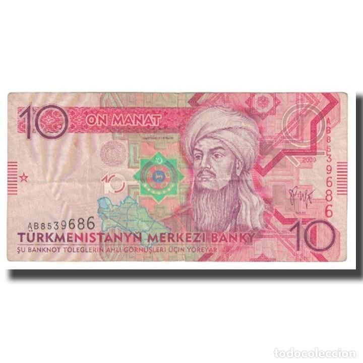 BILLETE, 10 MANAT, 2009, TURKMENISTÁN, KM:24B, MBC (Numismática - Notafilia - Billetes Extranjeros)
