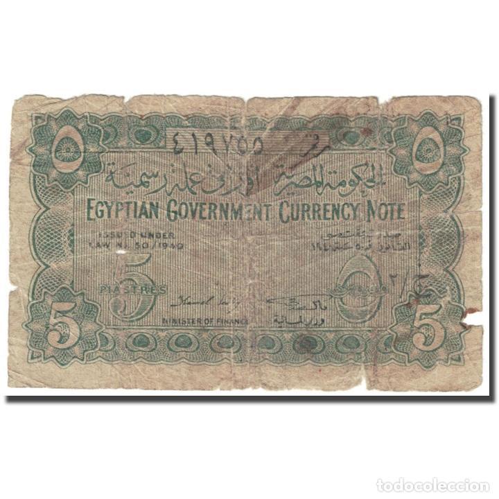 BILLETE, 5 PIASTRES, 1940, EGIPTO, UNDATED (1940), KM:163, MC (Numismática - Notafilia - Billetes Extranjeros)