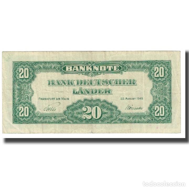 Billetes extranjeros: Billete, 20 Deutsche Mark, 1949, ALEMANIA - REPÚBLICA FEDERAL, KM:17a, BC - Foto 2 - 234941185