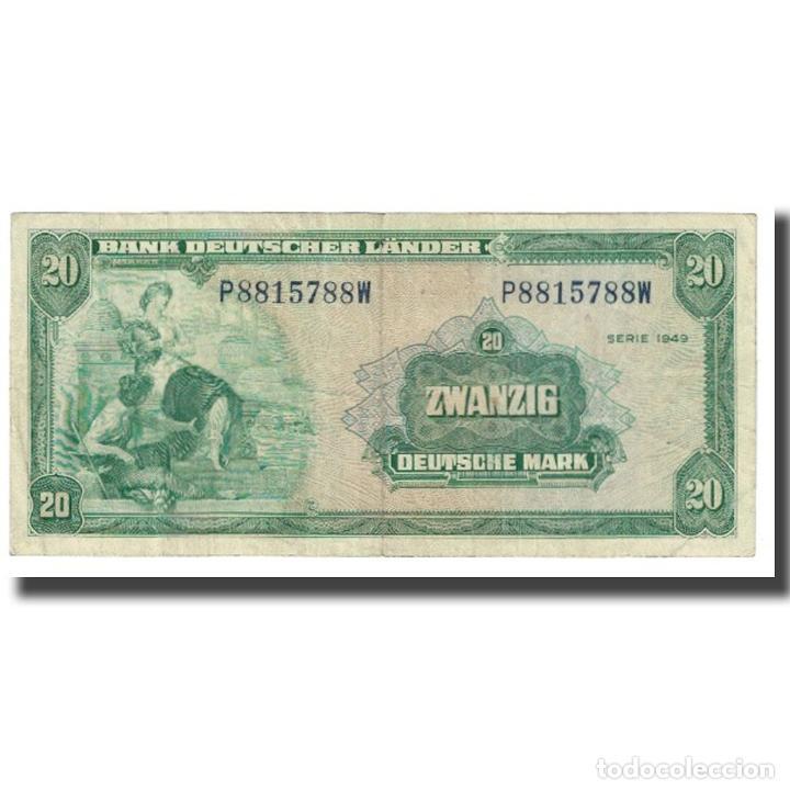 BILLETE, 20 DEUTSCHE MARK, 1949, ALEMANIA - REPÚBLICA FEDERAL, KM:17A, BC (Numismática - Notafilia - Billetes Extranjeros)