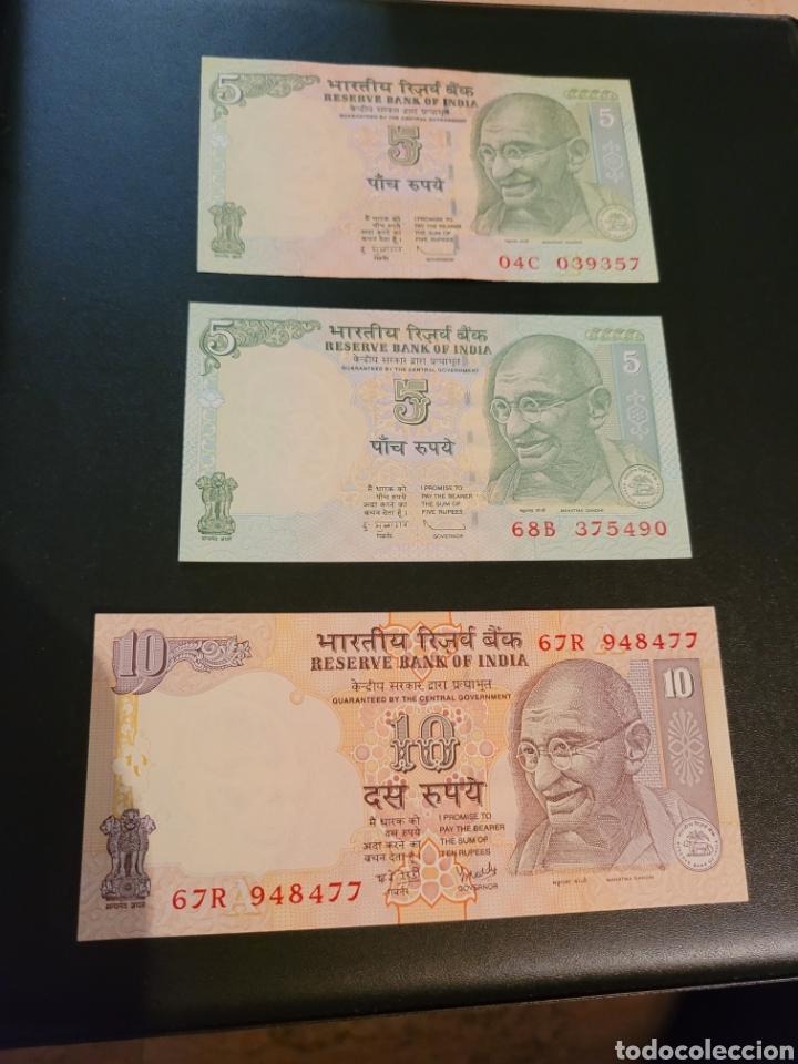 BILLETES DE INDIA DE 5, 5 Y 10 RUPEES (Numismática - Notafilia - Billetes Extranjeros)