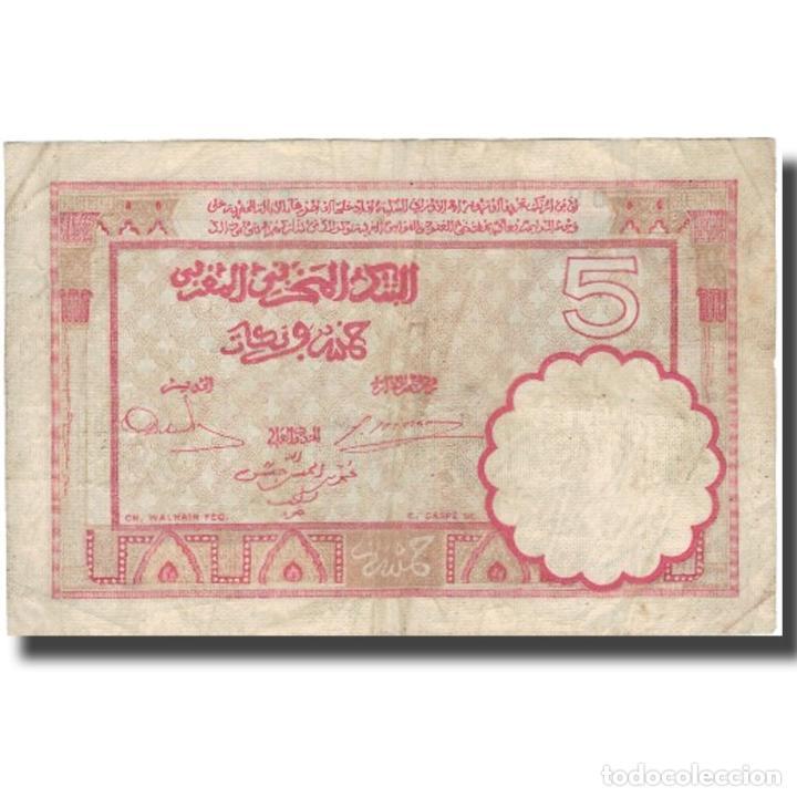 Billetes extranjeros: Billete, 5 Francs, 1941, Marruecos, 1941-11-14, KM:23Ab, BC+ - Foto 2 - 234941820