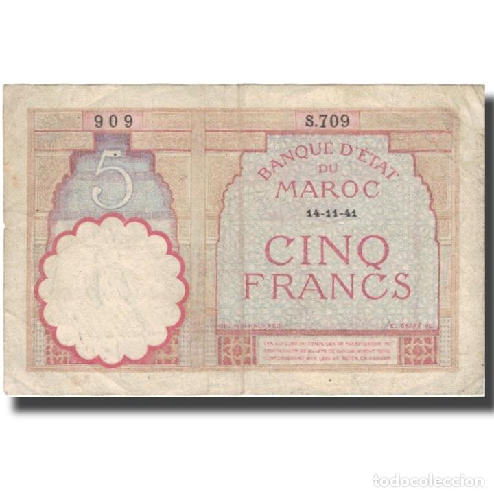 BILLETE, 5 FRANCS, 1941, MARRUECOS, 1941-11-14, KM:23AB, BC+ (Numismática - Notafilia - Billetes Extranjeros)