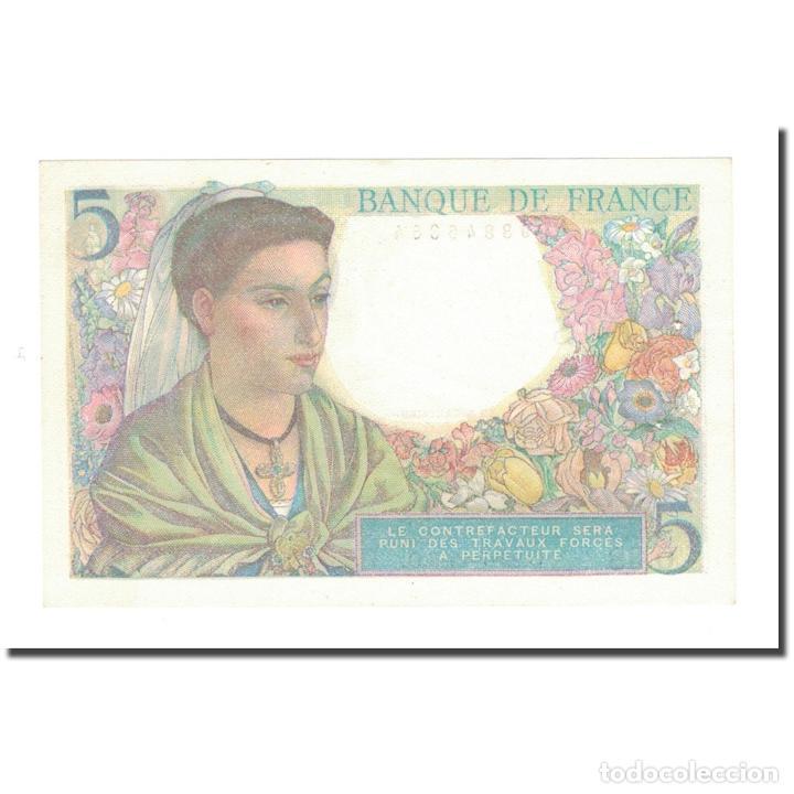 Billetes extranjeros: Francia, 5 Francs, 1943, 1943-07-22, EBC+, Fayette:5.2, KM:98a - Foto 2 - 234941830