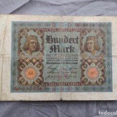 Billetes extranjeros: ALEMANIA 100 MARCOS 1920. Lote 235471945
