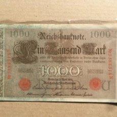 Billetes extranjeros: ALEMANIA - 1000 MARCOS 1910 Nº 5388318N ROJO. Lote 235840060