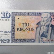 Billetes extranjeros: BILLETE ISLANDIA 10 CORONAS 1981 UNC FEDEROTA. Lote 236221850