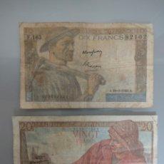 Billetes extranjeros: 2X BILLETES 10 Y 20 FRANCOS 1949 FRANCIA. Lote 236246005