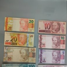 Billetes extranjeros: 8X BILLETES DE BRASIL 100 50 20 10 Y 5 REALES BUEN LOTE. Lote 236251960