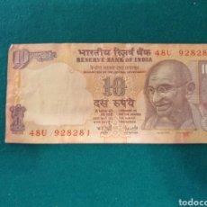 Billetes extranjeros: BILLETE 10 RUPIAS. Lote 296747953