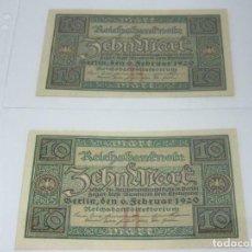 Billetes extranjeros: LOS BILLETES - 2 X BILLETES DE 10 MARCOS 1920-KASSENFRISCH ALEMANIA S/C. Lote 236820990