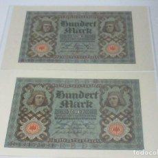 Billetes extranjeros: BANKNOTEN - 2 X REICHSBANKNOTEN 100 MARK 1920 - KASSENFRISCH ALEMANIA S/C. Lote 236821170