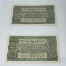 Billetes extranjeros: LOS BILLETES - 2 X BILLETES DE 10 MARCOS 1920-KASSENFRISCH ALEMANIA S/C. Lote 236821405