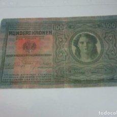 Billetes extranjeros: LOS BILLETES - 1 X AUSTRO-HÚNGARO BANK 100 CORONAS 1912. Lote 236821695