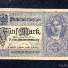 Billetes extranjeros: CURIOSO BILLETE ALEMÁN 5 MARCOS PRIMERA GUERRA MUNDIAL. Lote 236837685