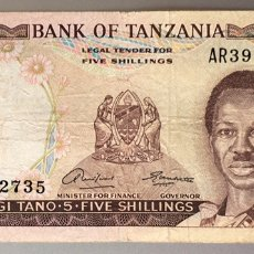 Notas Internacionais: TANZANIA. 5 SHILLINGS 1966. Lote 236888345