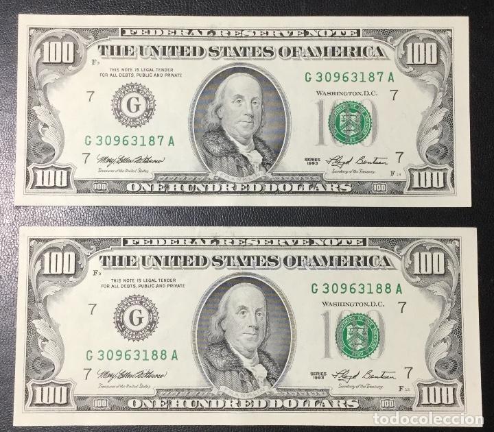Billetes extranjeros: PAREJA DE BILLETES CORRELATIVA ,100 DÓLARES , DOLLAR , USA , 1993 , SERIE G , SIN CIRCULAR , NUEVOS. - Foto 3 - 231195300