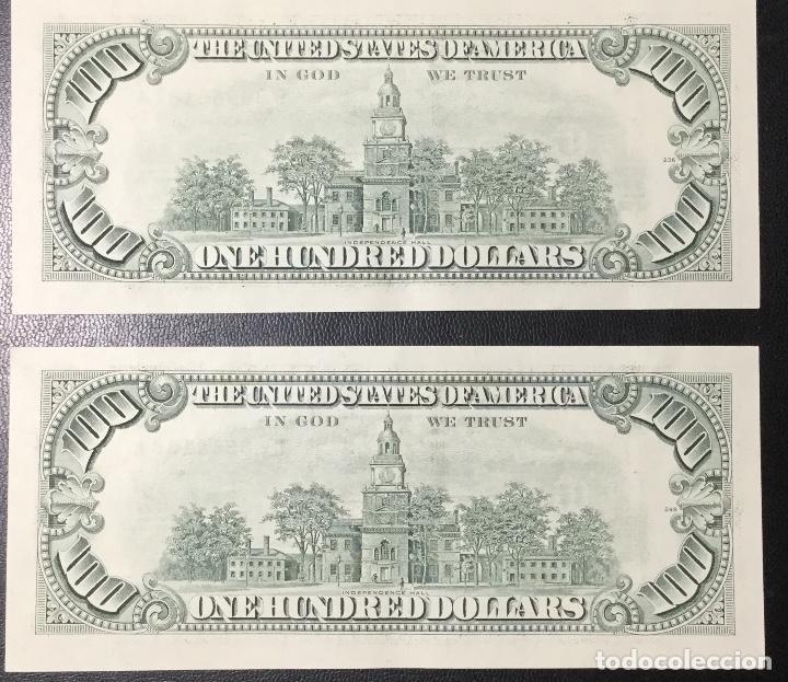 Billetes extranjeros: PAREJA DE BILLETES CORRELATIVA ,100 DÓLARES , DOLLAR , USA , 1993 , SERIE G , SIN CIRCULAR , NUEVOS. - Foto 4 - 231195300