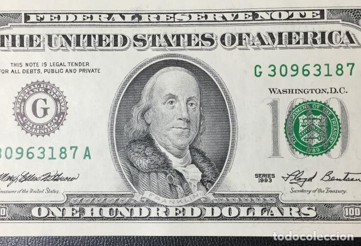 Billetes extranjeros: PAREJA DE BILLETES CORRELATIVA ,100 DÓLARES , DOLLAR , USA , 1993 , SERIE G , SIN CIRCULAR , NUEVOS. - Foto 5 - 231195300
