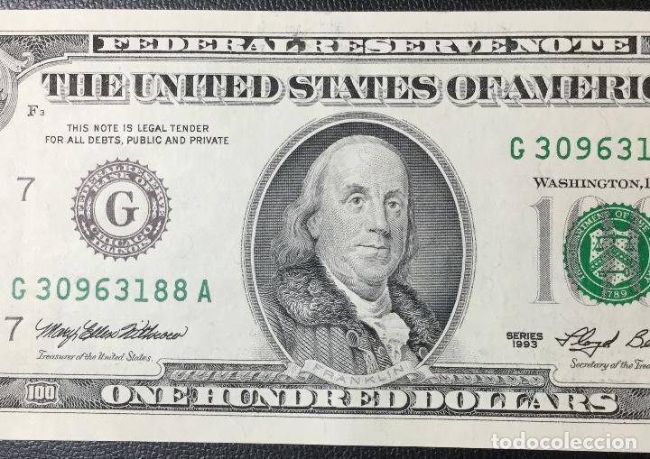 Billetes extranjeros: PAREJA DE BILLETES CORRELATIVA ,100 DÓLARES , DOLLAR , USA , 1993 , SERIE G , SIN CIRCULAR , NUEVOS. - Foto 6 - 231195300