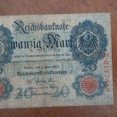 Billetes extranjeros: ALEMANIA 20 MARCOS 1907 PIK 28. Lote 237299800