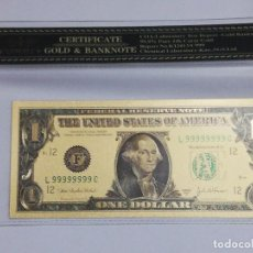 Billetes extranjeros: BILLETE 1DOLAR EN LAMINA DORADA CON FUNDA. Lote 237550655
