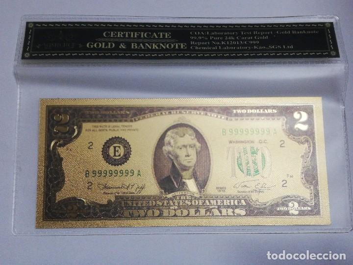 BILLETE 2 DOLARES EN LAMINA DORADA CON FUNDA (Numismática - Notafilia - Billetes Internacionales)