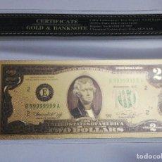 Billetes extranjeros: BILLETE 2 DOLARES EN LAMINA DORADA CON FUNDA. Lote 237551070
