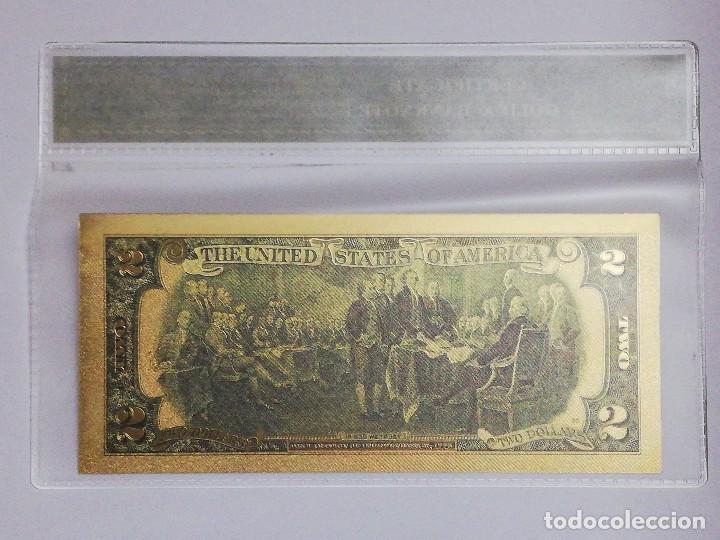 Billetes extranjeros: Billete 2 dolares en lamina dorada con funda - Foto 2 - 237551070