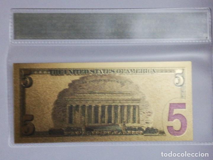 Billetes extranjeros: Billete 5 dolares en lamina dorada con funda - Foto 2 - 237551390