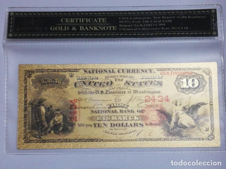 BILLETE 10 DOLARES EN LAMINA DORADA CON FUNDA (Numismática - Notafilia - Billetes Internacionales)