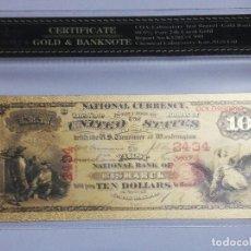 Billetes extranjeros: BILLETE 10 DOLARES EN LAMINA DORADA CON FUNDA. Lote 237551660