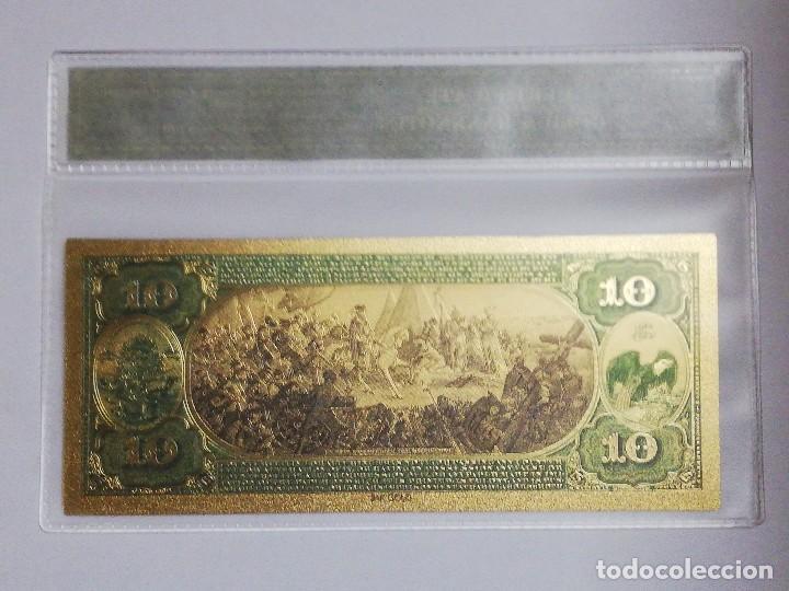 Billetes extranjeros: Billete 10 dolares en lamina dorada con funda - Foto 2 - 237551660