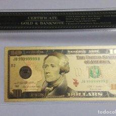 Billetes extranjeros: BILLETE 10 DOLARES EN LAMINA DORADA CON FUNDA. Lote 237552245
