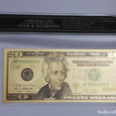 Billetes extranjeros: BILLETE 20 DOLARES EN LAMINA DORADA CON FUNDA. Lote 237553120