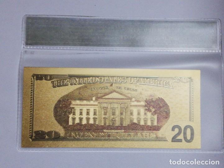 Billetes extranjeros: Billete 20 dolares en lamina dorada con funda - Foto 2 - 237553120