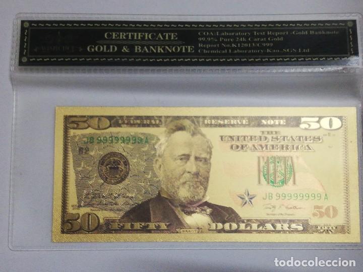 BILLETE 50 DOLARES EN LAMINA DORADA CON FUNDA (Numismática - Notafilia - Billetes Internacionales)