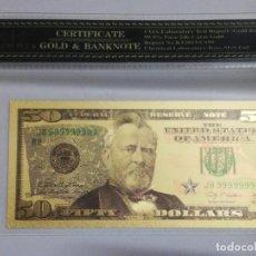 Billetes extranjeros: BILLETE 50 DOLARES EN LAMINA DORADA CON FUNDA. Lote 237553535
