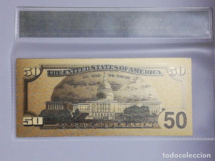 Billetes extranjeros: Billete 50 dolares en lamina dorada con funda - Foto 2 - 237553535