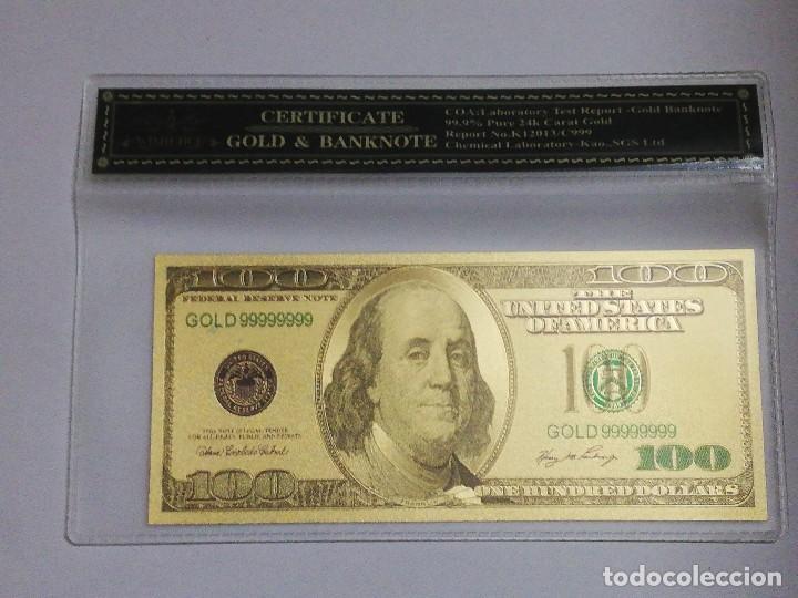 BILLETE 100 DOLARES EN LAMINA DORADA CON FUNDA (Numismática - Notafilia - Billetes Internacionales)