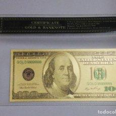 Billetes extranjeros: BILLETE 100 DOLARES EN LAMINA DORADA CON FUNDA. Lote 237554465