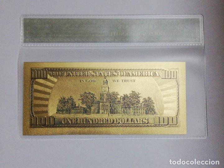 Billetes extranjeros: Billete 100 dolares en lamina dorada con funda - Foto 2 - 237554465