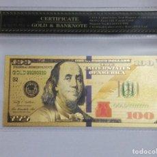 Billetes extranjeros: BILLETE 100 DOLARES EN LAMINA DORADA CON FUNDA. Lote 237554830